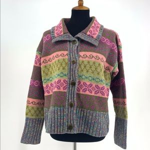 Sundance Lambswool Grandma Style Button Sweater M